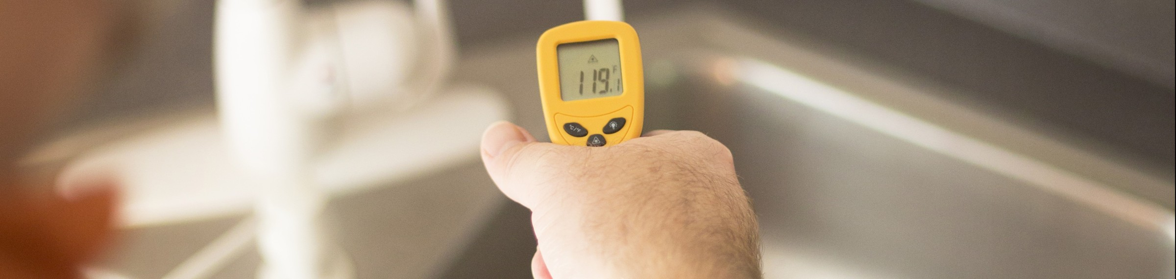 Using an Infrared Thermometer to measure hot water temperature